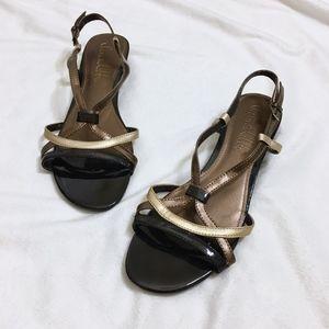 Sam & Libby Black / Metallic Gold Bronze Sandals
